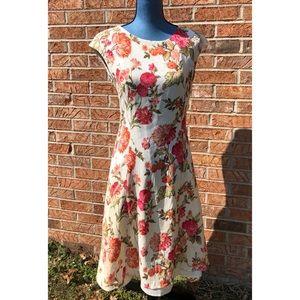 Talbots Ivory/red-orange floral dress Sz 8 LNWOT